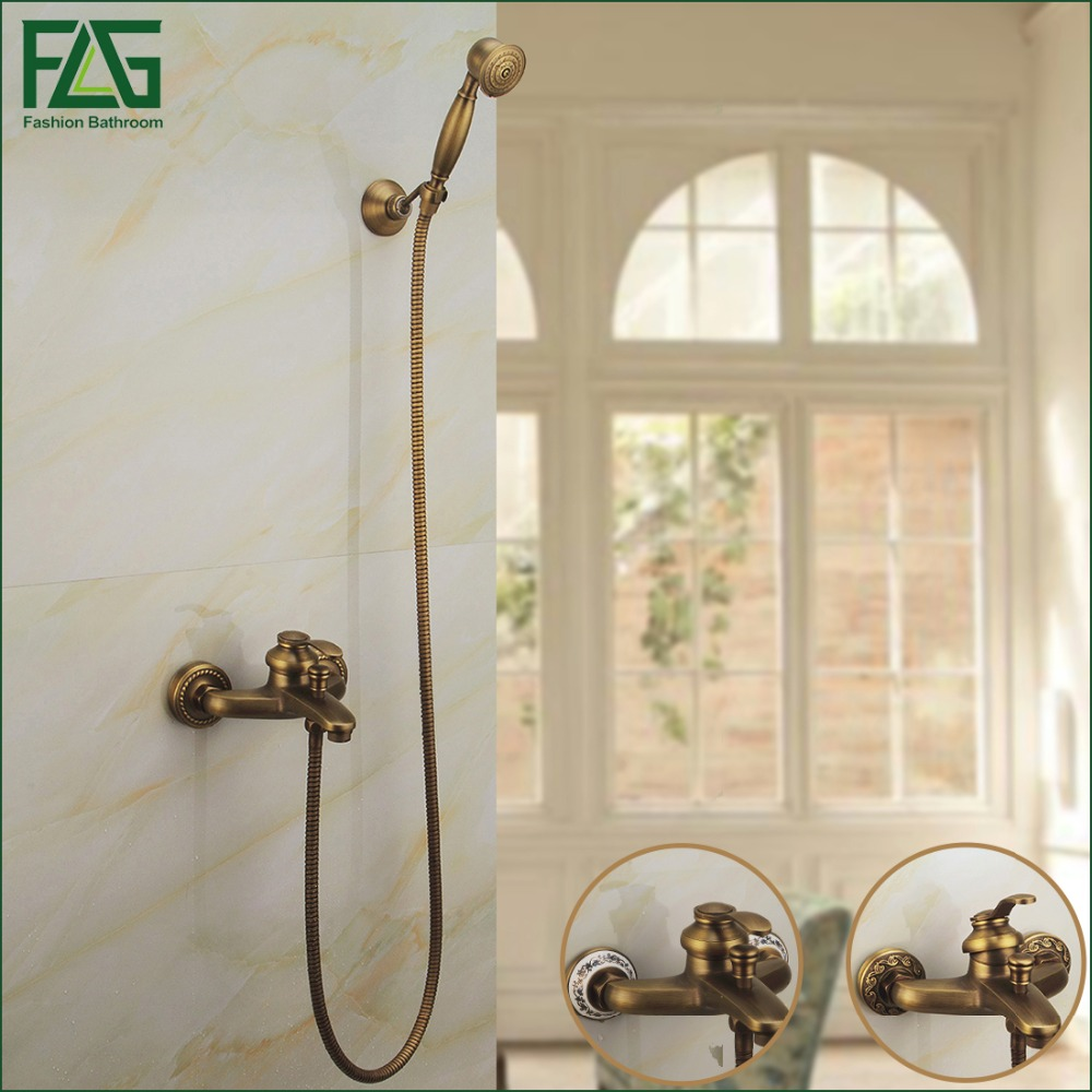 Free Shipping Antique Brass Shower Faucet Fashion Quality Copper Shower  Bathroom Sanitary Ware Shower Set Bathtub Mixer Taps copper bathroom shelf basket soap dish copper storage holder silver