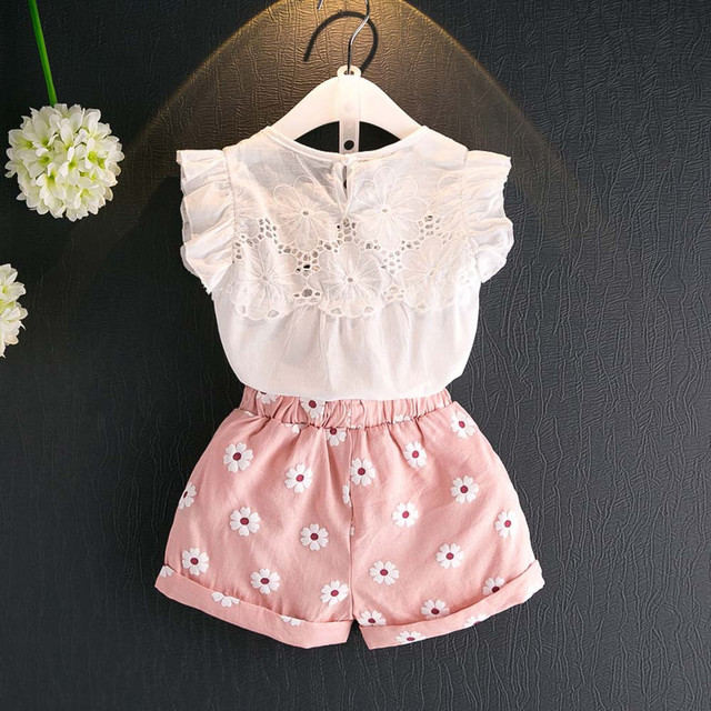 2pcs Kids Baby Girls Summer Outfits Lace Tops Floral Shorts Pants Clothes Sets Children Kid Girl Cute Clothing Lolly Top+Pants