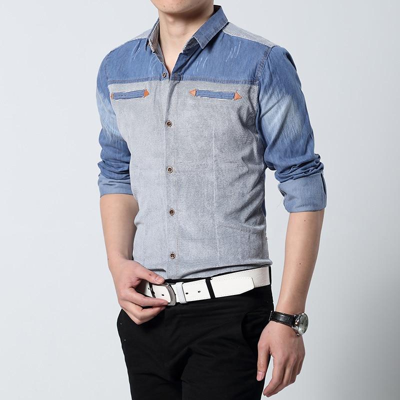 2015 hot new arrive korea slim men's summer style denim shirts ...