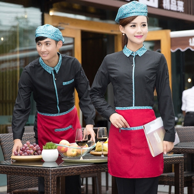 17fdc638e2 Hotel Uniform Autumn Winter Female Uniforms Coffee Shop Restaurant Waiter  Front Long Sleeved Shirt Work Clothes Waitress J081-in Chef Jackets from  Novelty ...