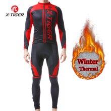 X-TIGER, зимняя мужская теплая флисовая велосипедная футболка, комплект, велосипедная одежда с длинным рукавом, одежда для горного велосипеда, спортивная одежда, Ropa Ciclismo