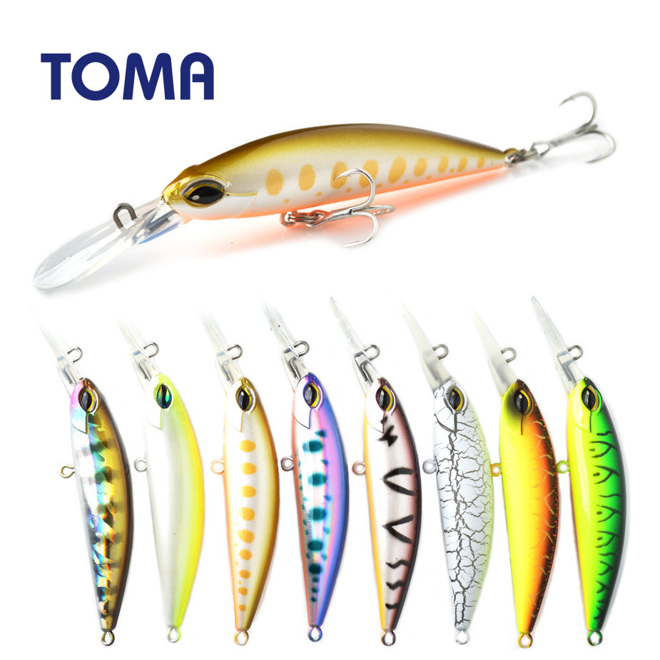 TOMA 70S Professional Hard Fishing Lure 70mm 14g Sinking Wobbler Minnow Artificial Bass Pike Bait Fishing Tackle Peche