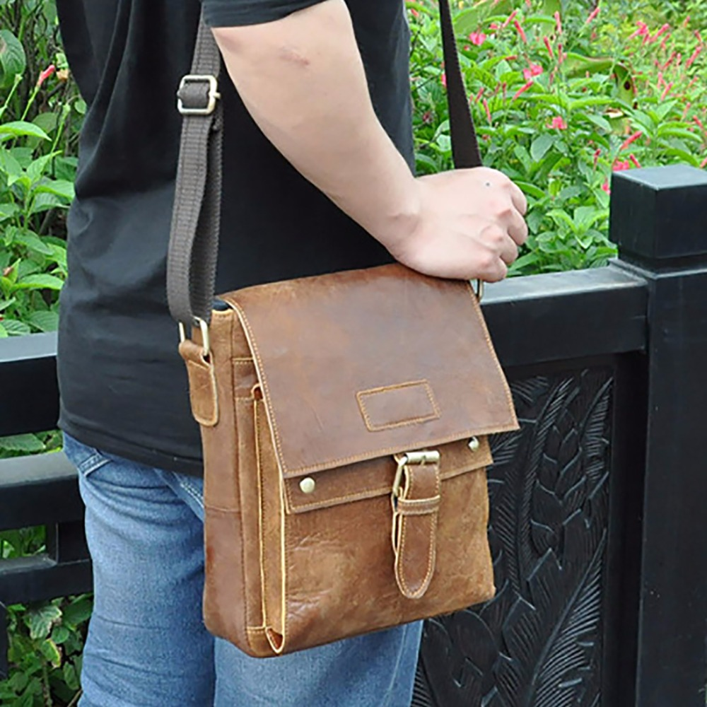Oil Wax/First Layer Cowhide Genuine Leather Men Satchel Vintage Designer Male Cross Body Bags Business Messenger Shoulder Bag