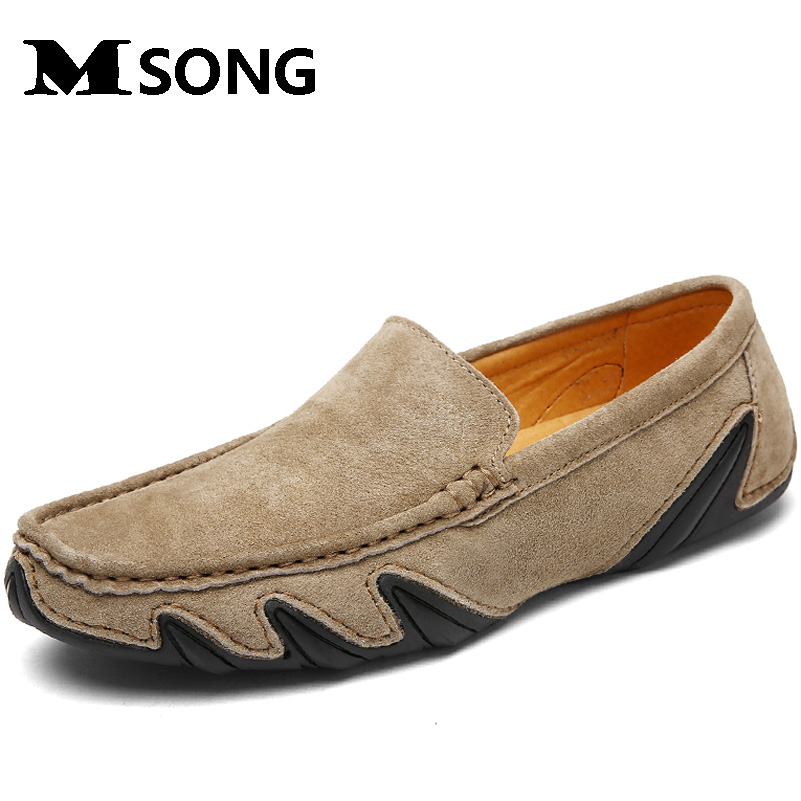 MSONG  Brand New Fashion Summer Spring Men Driving Shoes Loafers Real Leather Boat Shoes Breathable Male Casual Flats Loafers 2017 new fashion summer spring men driving shoes loafers real leather boat shoes breathable male casual flats