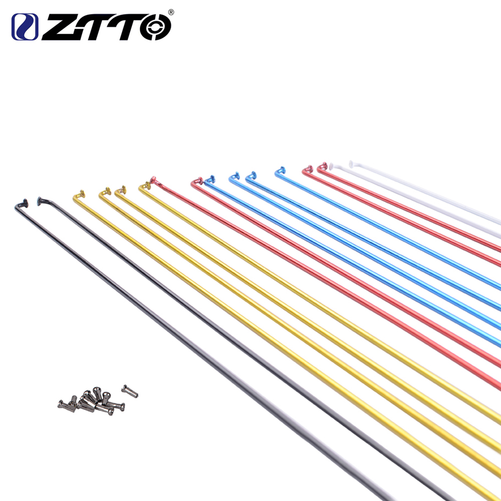 ZTTO MTB Bike Road Bicycle Colourful High Strength Spokes with spoke Nipples for 26 650B 27.5 29 700C Wheels 177mm-271mm