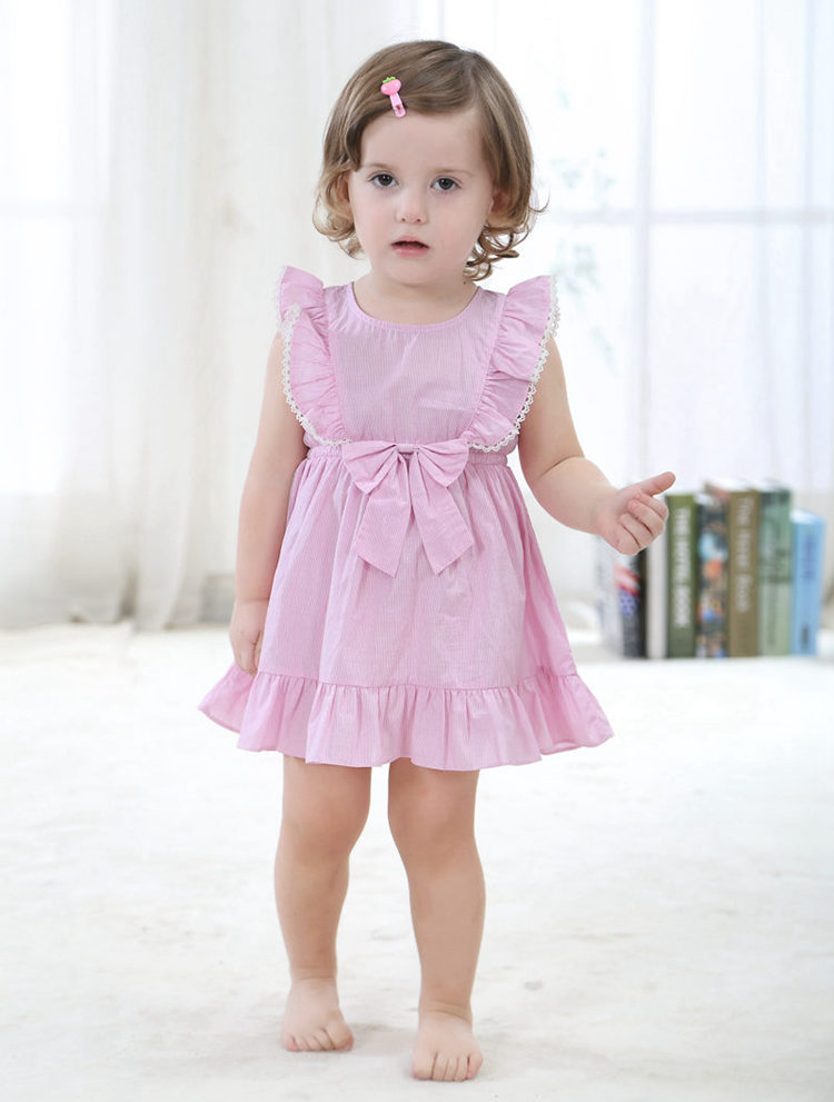Fashion Mini Girls Dress 100 Cotton Pink Cute 6month To 3t Little Girls Clothes 2017 Summer