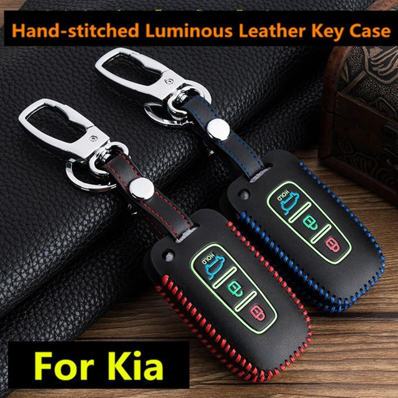 Luminous Leather Keychain Pouch For Kia Sportage K2 K5 Sorento Sportage R Soul Cadenza Leather Key Case 3 Button Leather Car Key