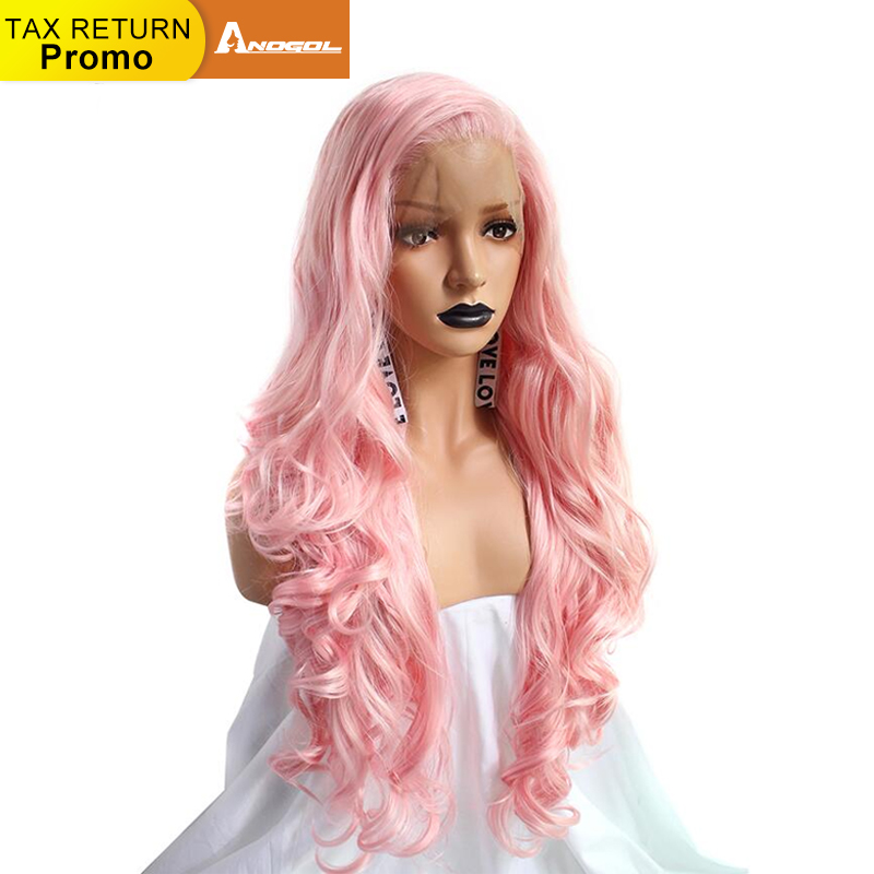 Anogol High Temperature Fiber Perruque 360 Frontal Hair Wigs Wavy Long Pink Deep Wave Synthetic Lace