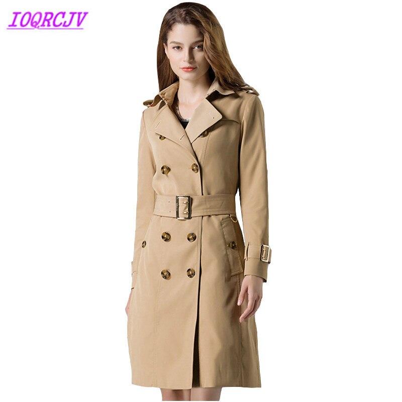 Blusão trench coat Mulheres 2018 Primavera Outono moda de alta qualidade à prova d' água brasão Plus Size trench feminino top IOQRCJV H310