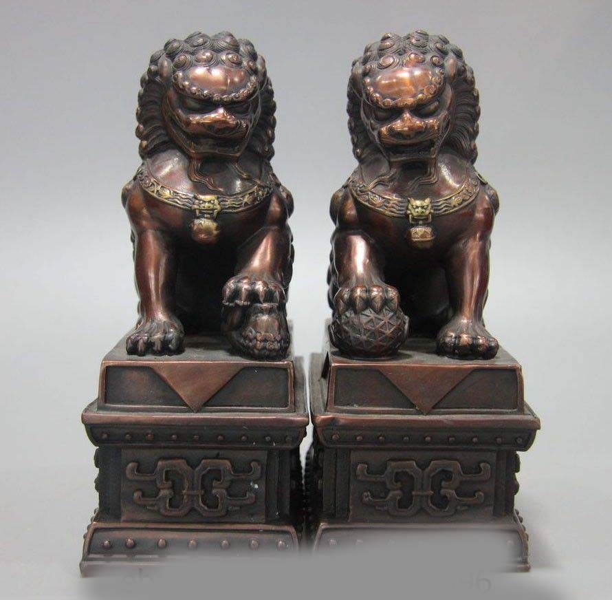 old China Copper bronze Door Fengshui Guardion Foo Fu Dog Lion Statue Lions Pair