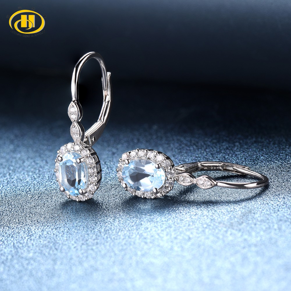 Hutang Sky Blue Topaz Drop Earrings Solid 925 Sterling Silver Natural Gemstone Fine Fashion Crystal Stone Jewelry For Women Gift