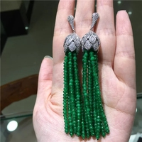 One Pair Green Color Roundel Faceted 4 2mm Tassle Hook Earrings 80mm Wholesale Beads FPPJ