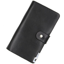 Book Style Leather Business Name Card Holder Black Credit Card Wallet Business ID Credit Card Case Bag Office School Supplies