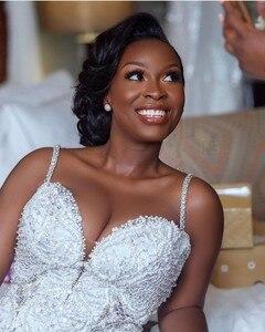 Image 4 - אפריקאית יוקרה בת ים שמלות כלה בתוספת גודל 2020 robe דה mariee שחור ילדה נשים תחרה שמלות כלה בעבודת יד כלה שמלה