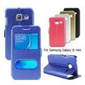 Para coque samsung galaxy j1 mini cajas del teléfono móvil de la textura de seda vista de windows cubierta del soporte del cuero case para galaxy j 1 mini bolsa