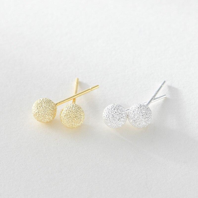 2 5 Mm Earrings: 100% Pure S925 Sterling Silver Earrings Brushed Ball 2.5MM