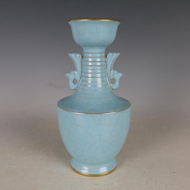 Antique Qing Dynasty Porcelain Vaseazure Glaze Bottleru Kilnhand