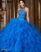 Популярное Пышное Бальное платье Золушки Королевское голубое праздничное платье 2019 недорогие подростковые платья сладкий 15 платья