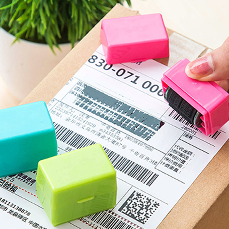Mini Roller Self Covering Garbled Confidential Stamps Express List Identity Code Privacy Information Seal Theft Protection