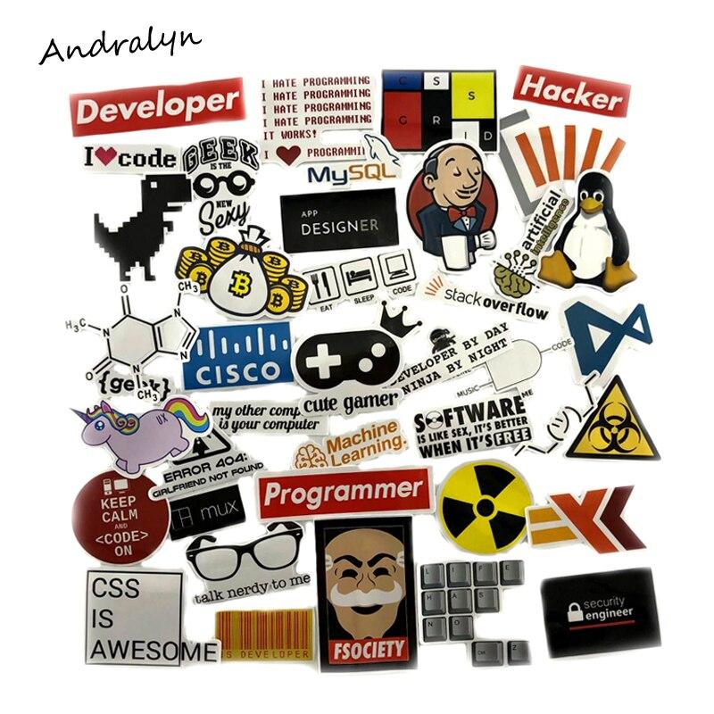 40 Pcs/Set SQL Programming Stickers Geek Hacker Bitcoin Developer Language APP Logo For Laptop Luggage Car Toy Moto Stickers