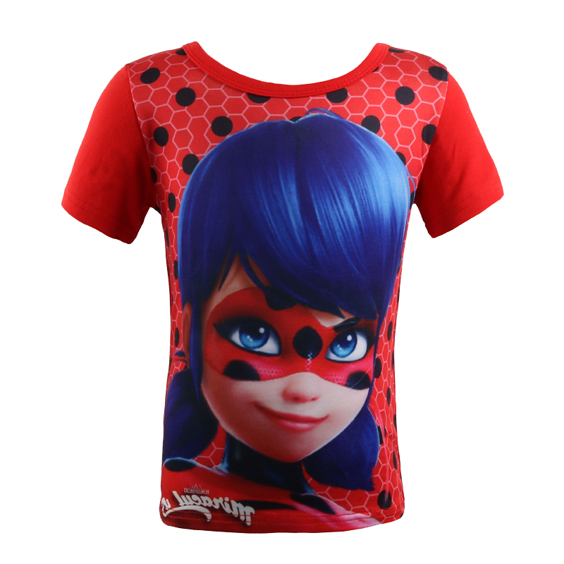 Lady Bug Girls Tops Miraculous Ladybug Funny T shirts Girls Tops Short Sleeve Baby Girl Summer Clothes Boys Tshirt