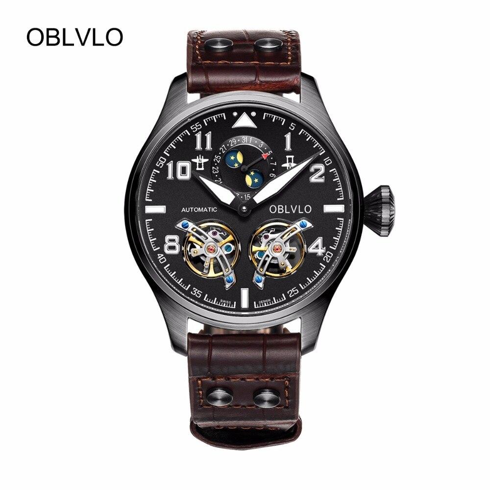 OBLVLO Mens Pilot Watches Tourbillon Moon Phase Complete Calendar Automatic Watches Black Steel Luminous Watches OBL8232 patek philippe sky moon tourbillon в самаре