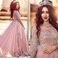 Великолепный Новый Дизайн Бусы Кристалл Кружева Вечернее Dress Пром Платья Аппликация Полный Рукава Формальные Наряды Плюс Размер Арабский
