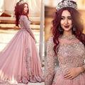 Gorgeous nuevo designe beads crystal dress prom vestidos de noche de encaje apliques de la manga completa fiesta formal wear plus size árabe