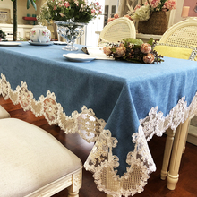 New European Style Linen Patchwork Lace Table Work Dresser Dinner Tea End Decor Dustproof Table Cover Quality Luxury Tablecloth