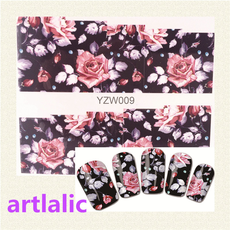 1 sheet Water Transfer Nail Art Sticker Decal Romantic Rose 3D Print Manicure Tips DIY Nail Foils Decorations 009 1 sheet beautiful nail water transfer stickers flower art decal decoration manicure tip design diy nail art accessories xf1408