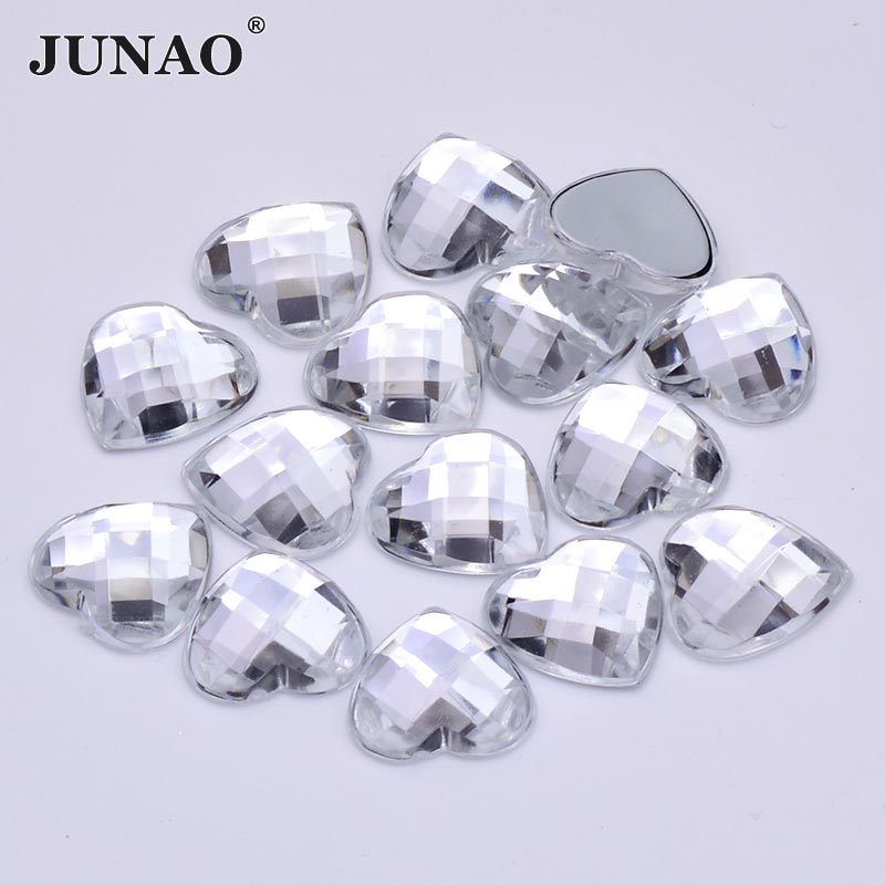 JUNAO 8 10 12 14 18mm Crystal AB Heart Rhinestones Flat Back Acrylic  Crystal Strass Non Hotfix Clear Crystals Stones for Clothes-in Rhinestones  from Home ... e9809e27ee62