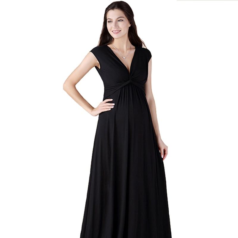 Maxi vestiti di maternità di lycra di marca senza maniche abiti lunghi per le donne incinte vestiti gravidanza gravidanza abiti con scollo a V Lady HOT