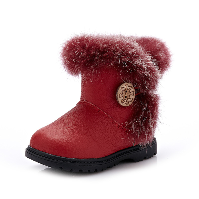 2018 New Children Snow Boots Girls Fashion Winter Warm Cotton Shoes Princess Cute Snow Boots Anti-skid and Waterproof Boots 2018 new girls fur one snow boots winter 2018 new children s net red children s shoes parent child warm cotton shoes lace
