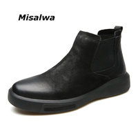 Misalwa 2019 Men Chelsea Boots Brush Toe Cap Male Brand Split Leather Quality Slip On Motorcycle Man Warm Short Ankle Boots