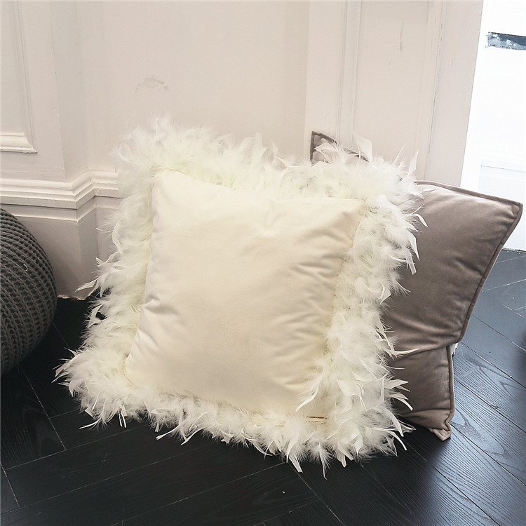 US $15 31 9% OFF|New Luxury beauty Cushion cover white Europe velvet fabric  feather around pillow case cushion sofa bed home room Dec FG940-in Cushion