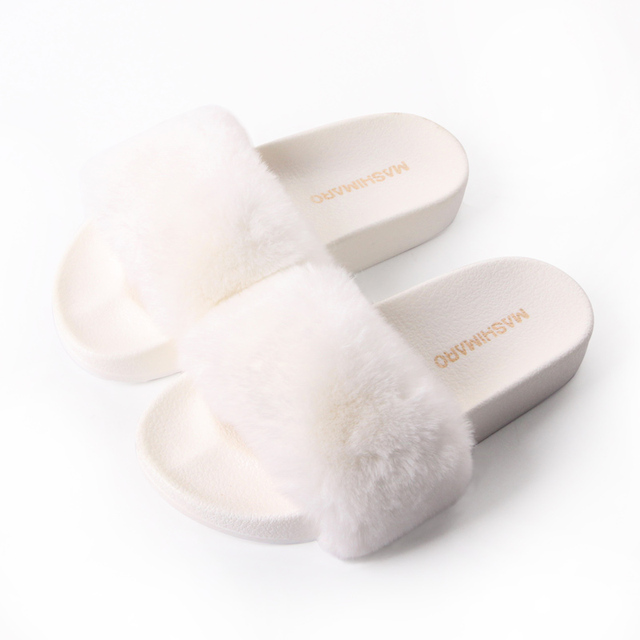Flat Fur Women Slippers 2017 Fashion Leisure Open Toe Women Indoor Slippers Fur High Quality Soft Plush Lady Furry Slippers