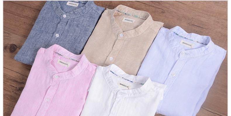 Sky blue linen shirt men summer long sleeve casual men shirts slim breathable shirt mens brand clothing mens shirts chemise 3XL 10