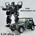 1:24 aleación de coches, alta simulación Jeep coche deformación, metal funde, transformadores, vehículos de juguete de los niños, envío libre