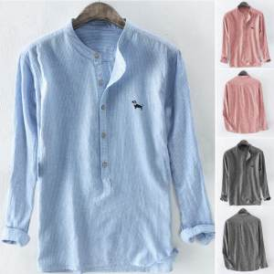 Camisa Masculina Shirt Button Embroidery Linen Long-Sleeve Hawaiian Stripe Baggy Plus-Size