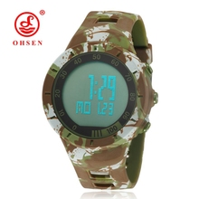 OHSEN Shock Water resistant Rubber Camouflage Watch LED Sport Military Army Alarm Couple Digital Wristwatch Mens Clock Relojes