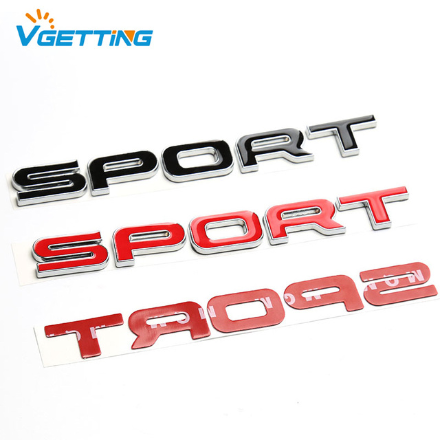 Red Black Alloy Sport Car Sticker Auto Rear Tailgate Emblem For