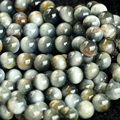 "Wholesale Natural Genuine Gray Black Eagle Eye Stone Round Loose Beads 4-16mm DIY Jewelry Necklaces or Bracelets 15"" 03799"