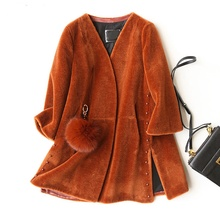 Lady Real Wool Blend Fur Coat Jacket V Collar Winter Genuine Women Fur Warm Outerwear Coats Plus Size LF4132