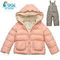 SP-SHOW Crianças Inverno Meninas de Lã Grossa Quente Two-Piece Suit set Para 2-6 Anos de Idade Marca de Luxo Crianças Casaco com capuz + Calça 8601002