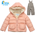 SP-SHOW Winter Children Girls Thick Warm Fleece Two-Piece Suit set For 2-6 Age Luxury Brand Kids Hooded Coat+Trousers 8601002