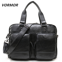 VORMOR High Quality Multifunctional Fashion Handbags Business Tote PU Leather Briefcase Bags Large Capacity Men Travel Bags