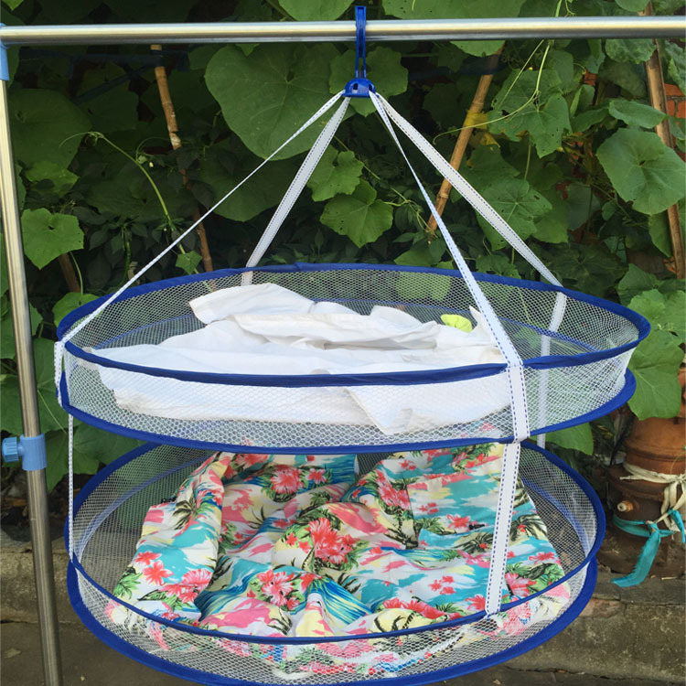 New Portable Drying Rack Folding Hanging Clothes Laundry Hangers Practical Dryer Net 2 layers Hot Selling -15