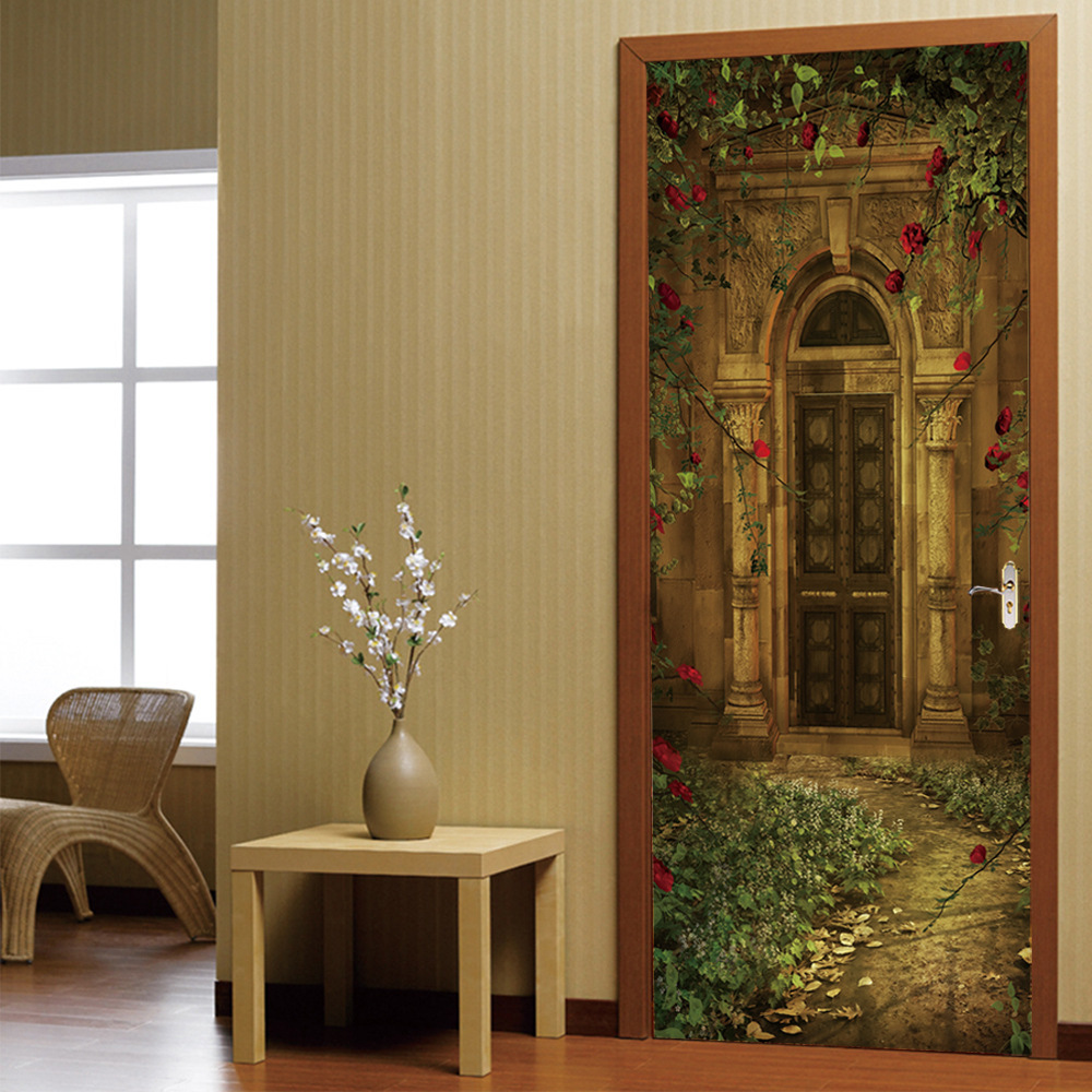 Vintage House Rose Door Decal Sticker Home Decor DIY Removable Art Vinyl Mural For Kids Room/Sliding Door