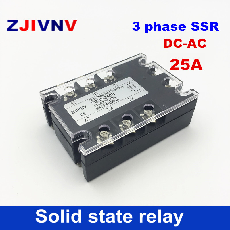 цена на Hot sales High quality 25A three phase solid state relays 3-32vdc control 90~480vac 3 phase ssr voltage relay 12v relay