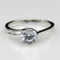 Round 1ct Lab Created Diamond Classic 4 Prongs Twisted 14k White Gold Engagement Ring Solitaire Esdomera